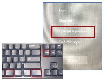 An image showing a keyboard with control, alt and delete keys highlighted, and the menu that appears when you press the keys.
